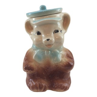 """Vintage Mid 20th Century American Bisque Cookie Jar """"Teddy Bear"""" For Sale"""