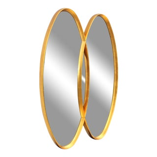 Mid-Century Modern Interlocking Oval Gold Leaf Mirror For Sale