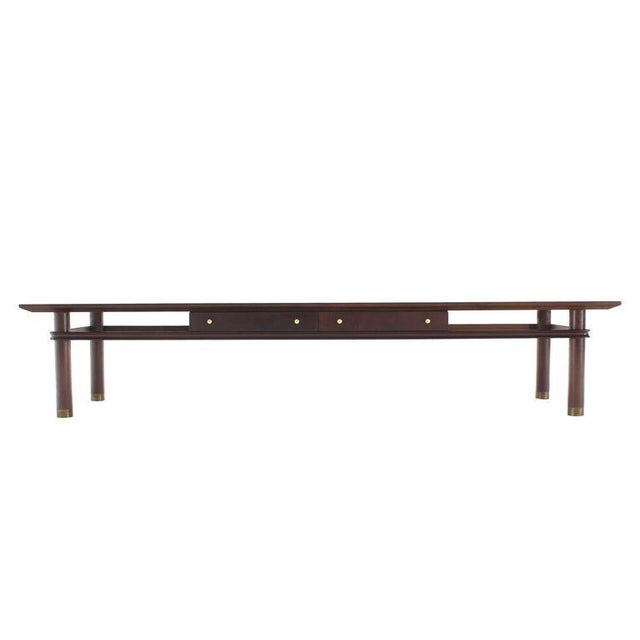 Lacquer Long Mid-Century Modern Walnut Coffee Table with Two Drawers For Sale - Image 7 of 9