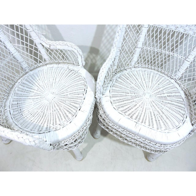 Wicker Vintage White Wicker and Cane High Back Conservatory Armchairs - a Pair For Sale - Image 7 of 7