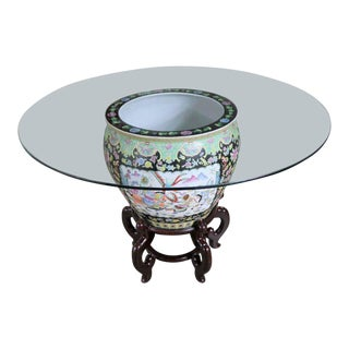 Chinese Porcelain Fish Bowl on Stand With Round Glass Top as Dining or Center Table For Sale