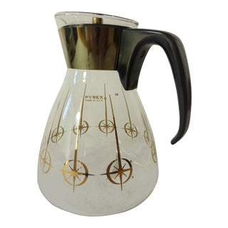 Vintage 1960's Pyrex Glass Gold Atomic Starburst Large Glass Coffee Carafe For Sale