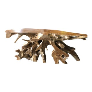 Organic Modern Teak Root Console Table For Sale