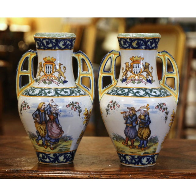 19th Century French Hand Painted Faience Vases Signed Hr Quimper - a Pair For Sale - Image 11 of 11