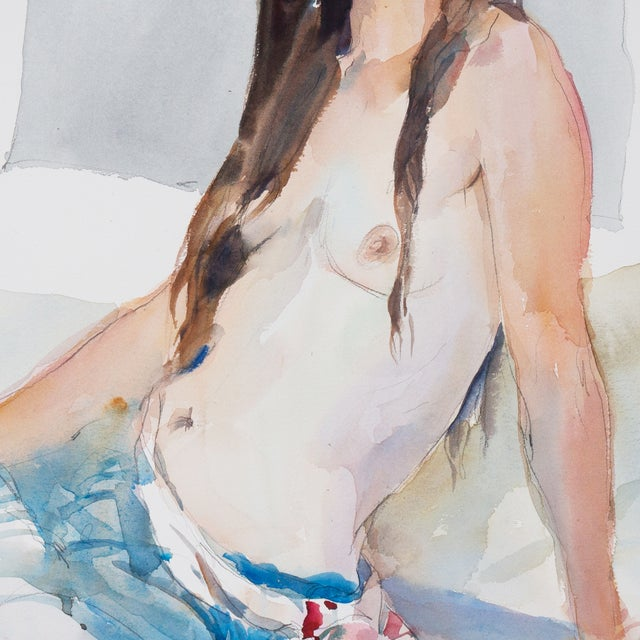 """Seated Nude"" Watercolor Painting, Robert E. Wood - Image 3 of 5"