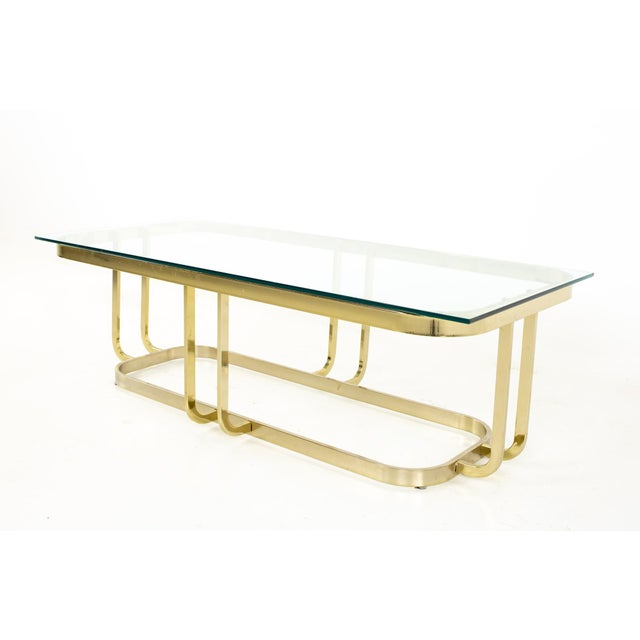 Mid-Century Modern Milo Baughman Style Mid Century Brass and Glass Coffee Table For Sale - Image 3 of 12