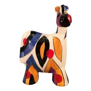 1990's Pop Art Anatoly Turov Hand Painted Ceramic Zebra For Sale