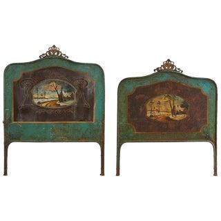 19th Century Italian Tole Headboard and Footboard