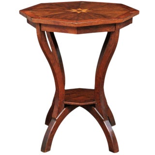 Italian Octagonal Top Gueridon Side Table with Fruitwood Star Inlay and Shelf