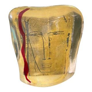 1950s Luigi Benzoni Murano Glass and Gold Face Sculpture For Sale