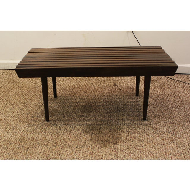Mid Century Danish Modern Walnut Slat Bench/Coffee Table - Image 7 of 11