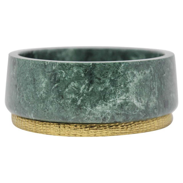 Brass Modern Italian Green Marble and Brass Footed Bowl For Sale - Image 8 of 8
