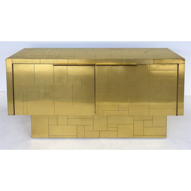 Paul Evans Directional Brass Cityscape Credenza Cabinet With 2 Doors For Sale - Image 10 of 10