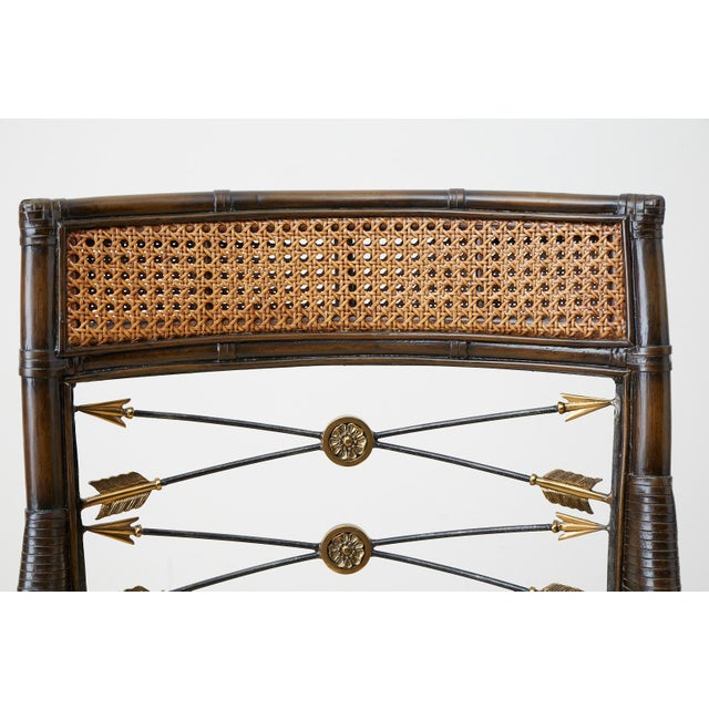 Set of Four Neoclassical Style Rattan Dining Armchairs For Sale - Image 11 of 13