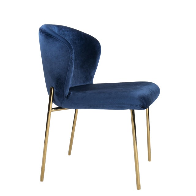 Jamie Curved Dining Chair in Blue and Gold For Sale