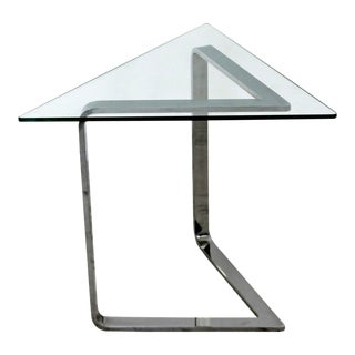 Mid Century Modern Chrome & Glass Triangle Cantilever Side End Table 1970s For Sale