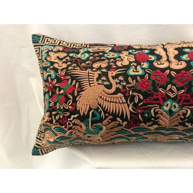 Hollywood Regency Black & Gold Silk Embroidered Chinoiserie Boudoir Lumbar Pillow For Sale In Los Angeles - Image 6 of 9