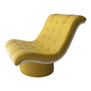 Mid-Century Modern Yellow Vinyl Lounge Chair