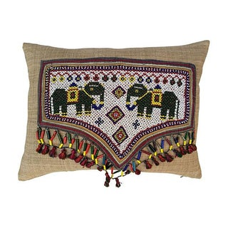 Pillow With Indian Beaded Elephant Banner For Sale