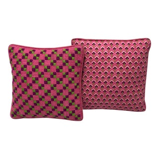 1960's Vintage Bright Pink Geometric Embroidered Throw Pillows - a Pair