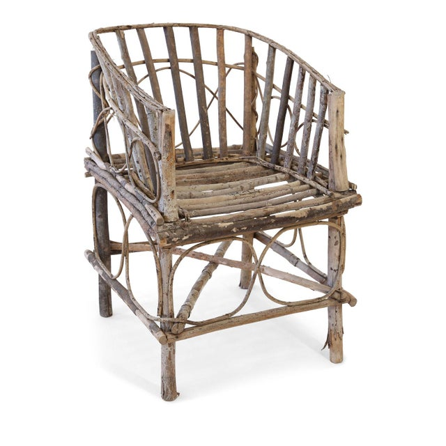 Antique French twig chair: 19th century tramp art chair constructed by hand from branches and twigs by an unknown...