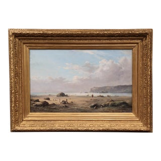 19th Century French Brittany Beach Landscape Painting Signed Masny Dated 1882