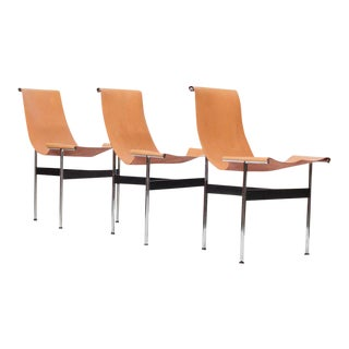 One Laverne International T Chairs in Natural Cognac Leather For Sale