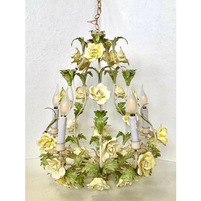 1940s 1940s Italian Porcelain Floral Vintage Toile Chandelier For Sale - Image 5 of 12