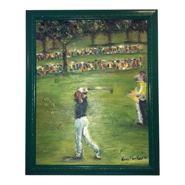 Tiger Woods Pga Golf Original Framed Oil Painting Signed Art For Sale