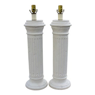 Large Vintage Plaster Column Lamps - a Pair For Sale