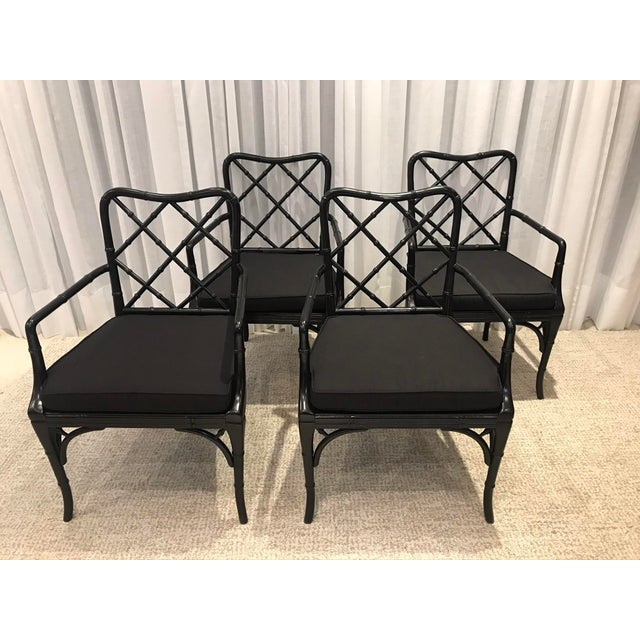 Black Chippendale Arm Chairs with Detachable Cushions - Set of 4 For Sale - Image 13 of 13