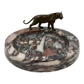 Art Deco Bronze Panther/Mountain Lion on Marble Ashtray For Sale