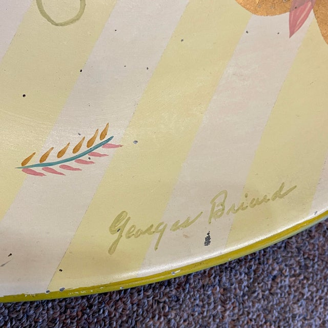1950s Georges Briard Tole Butterflies + Flora Tray, Signed For Sale - Image 11 of 13