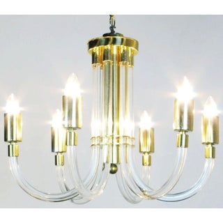 Peter Hamburger Brass and Acrylic Six-Arm Chandelier Preview