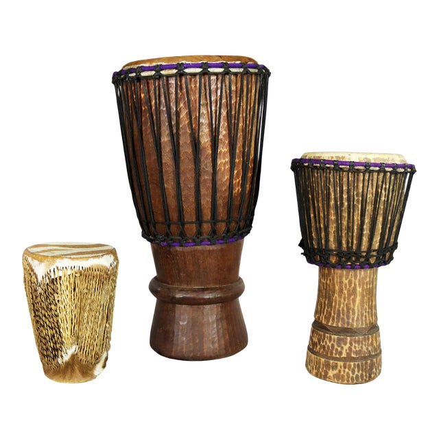 Trio of Tribal Drums Carved Wood and Animal Hide For Sale