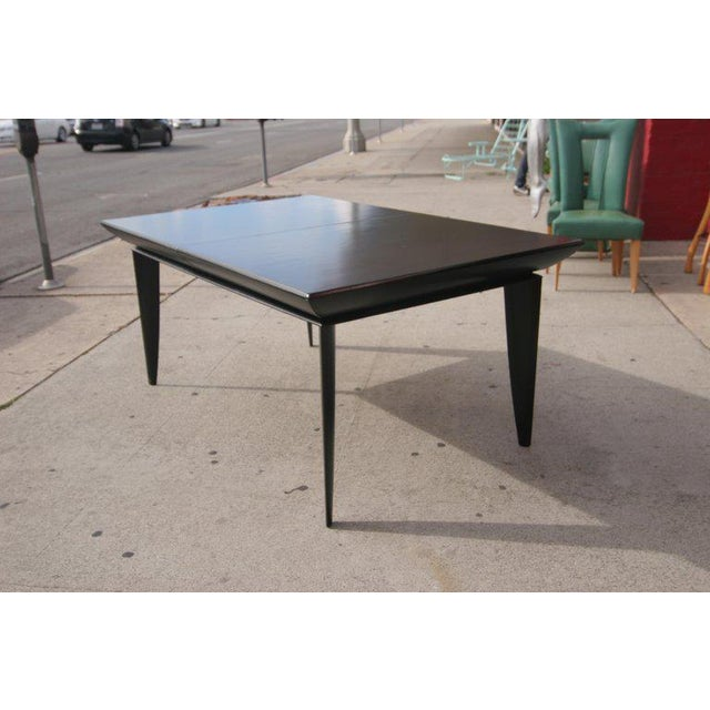 Paul Laszlo Black Lacquer Knife-Leg Dining Set for Brown Saltman For Sale In Los Angeles - Image 6 of 8