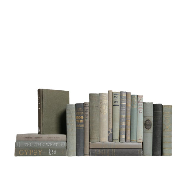 Mid-Century Gray Decorative Books - Set of 20 For Sale