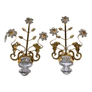 French Bagues Crystal Floral Gilt Metal Sconces - a Pair For Sale