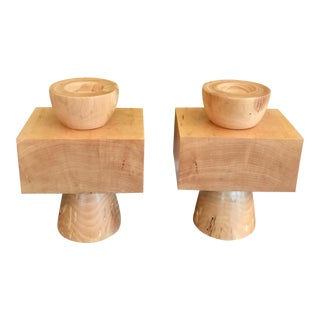 1990s Scandinavian Colossal Turned Wood Pillar Candle Holders - a Pair For Sale