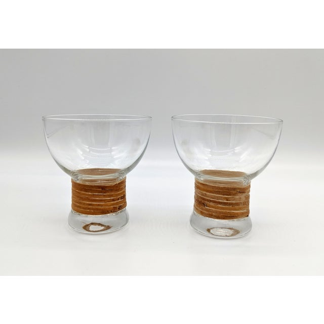 Mid 20th Century Mid Century Glass and Rattan Bar Service - Set of 10 For Sale - Image 5 of 12