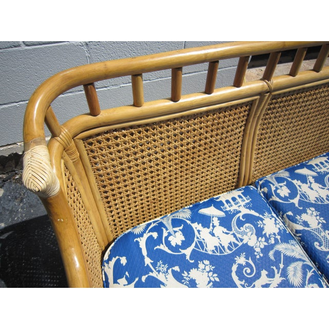 Cane & Rattan Asian Style Sofa For Sale In Austin - Image 6 of 6