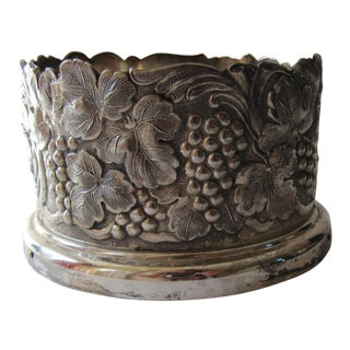 Vintage Decorative Silver-Plate Wine Coaster For Sale