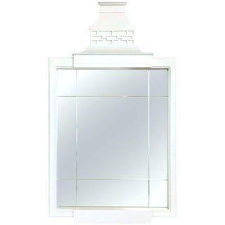 21st Century & New Lacquered White Wood Pagoda Style Mirror For Sale