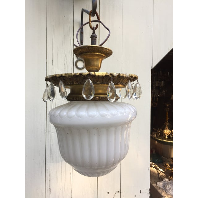 Metal 1910s Vintage Cast Brass and Crystal Caldwell Hanging Fixture For Sale - Image 7 of 7