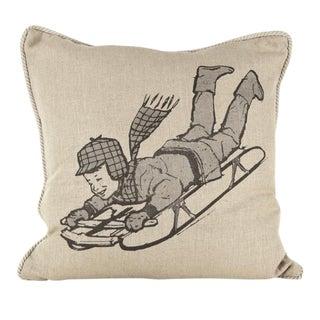 Sledding Linen Pillow For Sale
