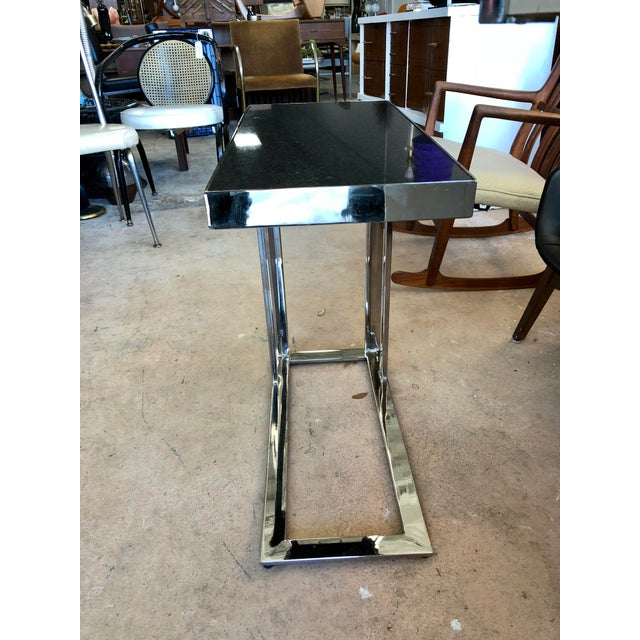 Chrome Contemporary Black Granite and Chrome C Table For Sale - Image 7 of 9