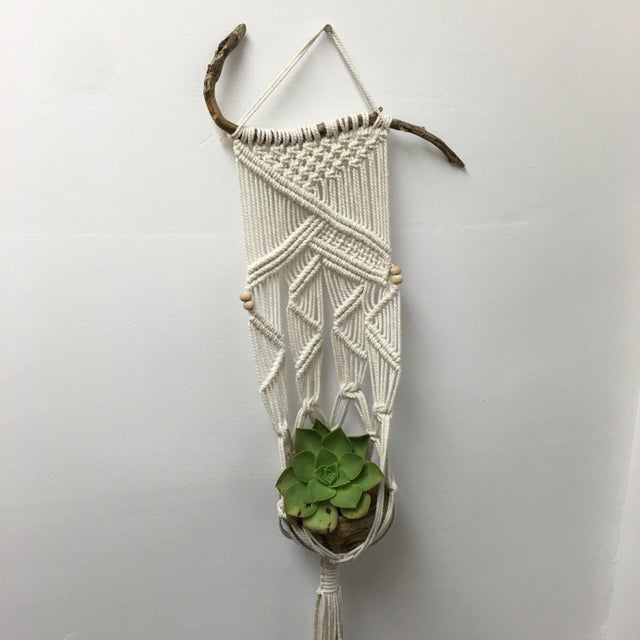 Handmade Macrame on Natural Branch - Image 4 of 8