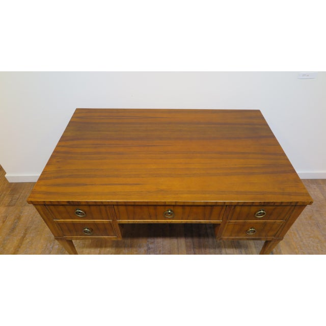 Brown Midcentury Tiger Wood Desk For Sale - Image 8 of 13
