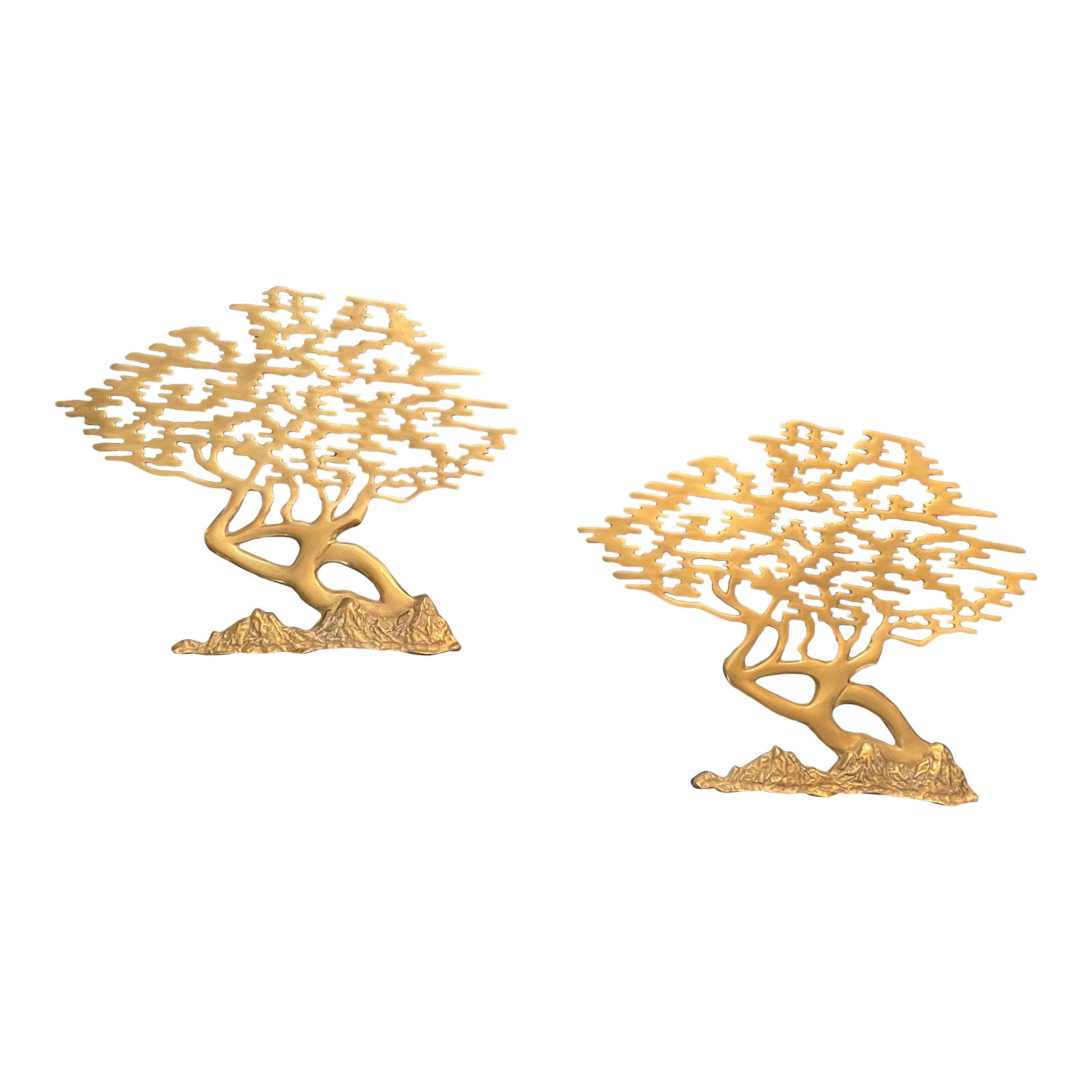 Vintage Brass Bonsai Tree Wall Hangings A Pair Chairish