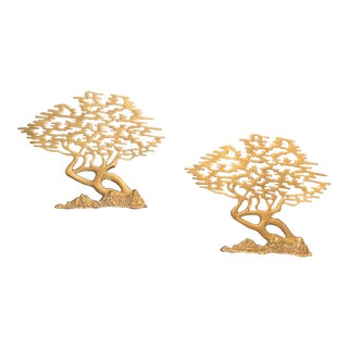 Vintage Brass Bonsai Tree Wall Hangings - a Pair For Sale